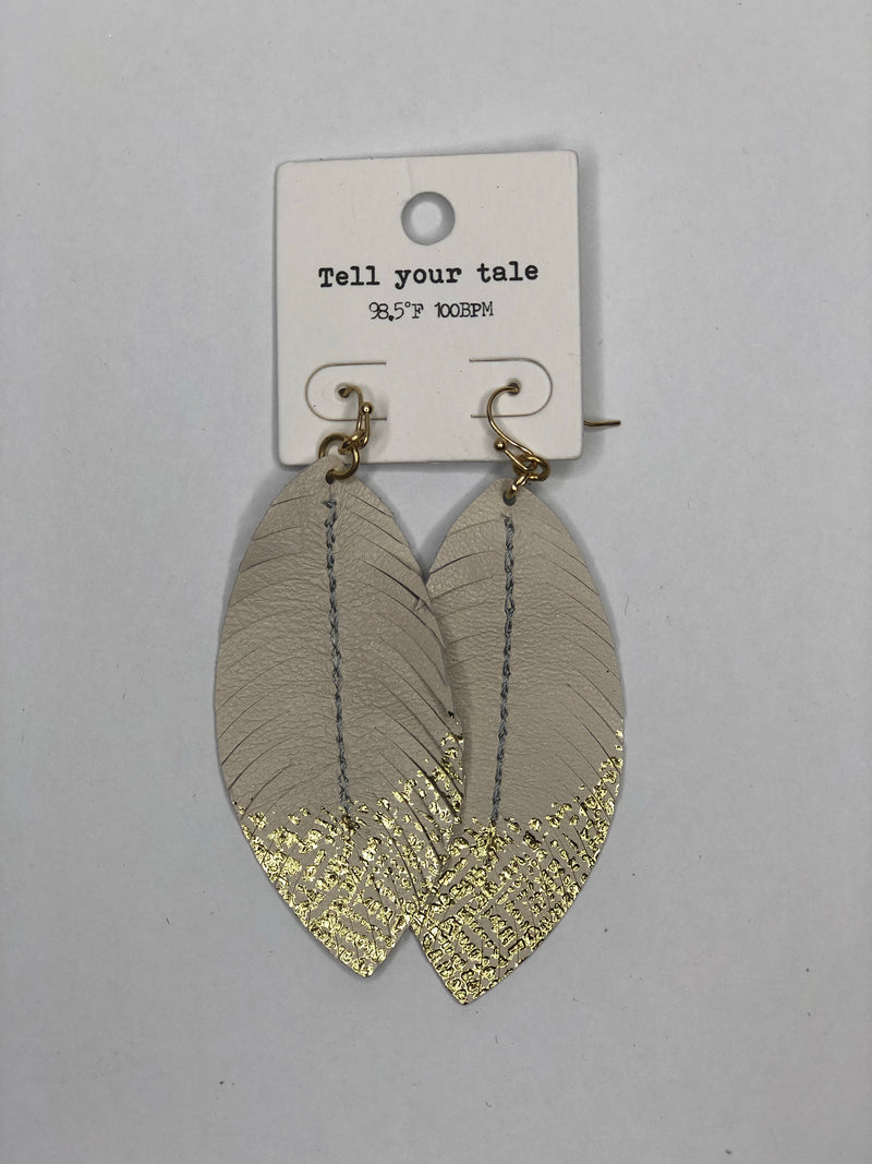 Beige faux leather gold feather drop earrings - EmmyLou Boutique