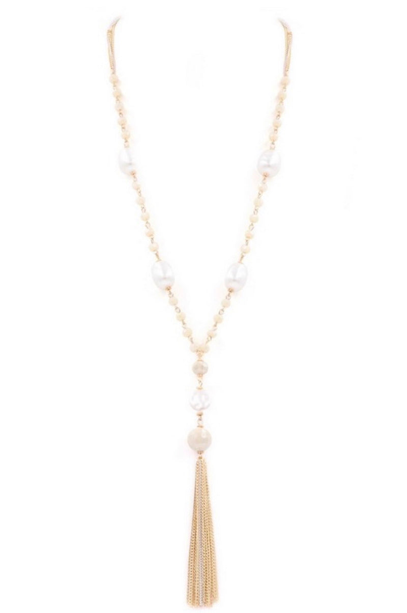 Glass Bead Tassel Necklace