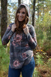 Floral Top with Hoodie - EmmyLou Boutique