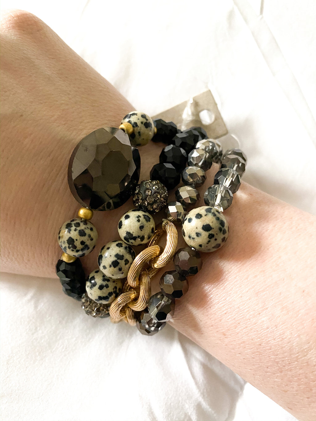 Black Glass Stone Stretch Bracelet
