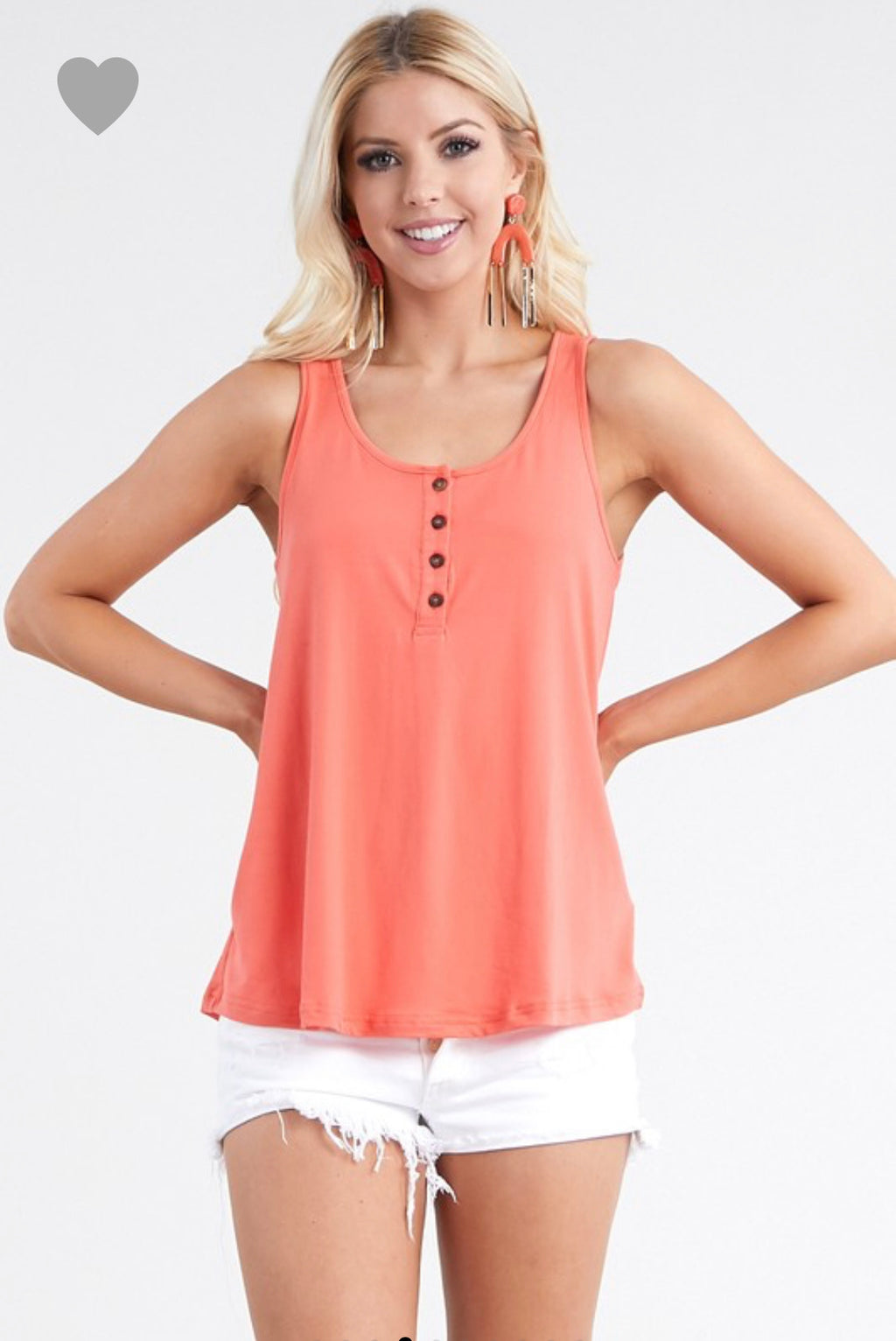 Coral Button Tank Top