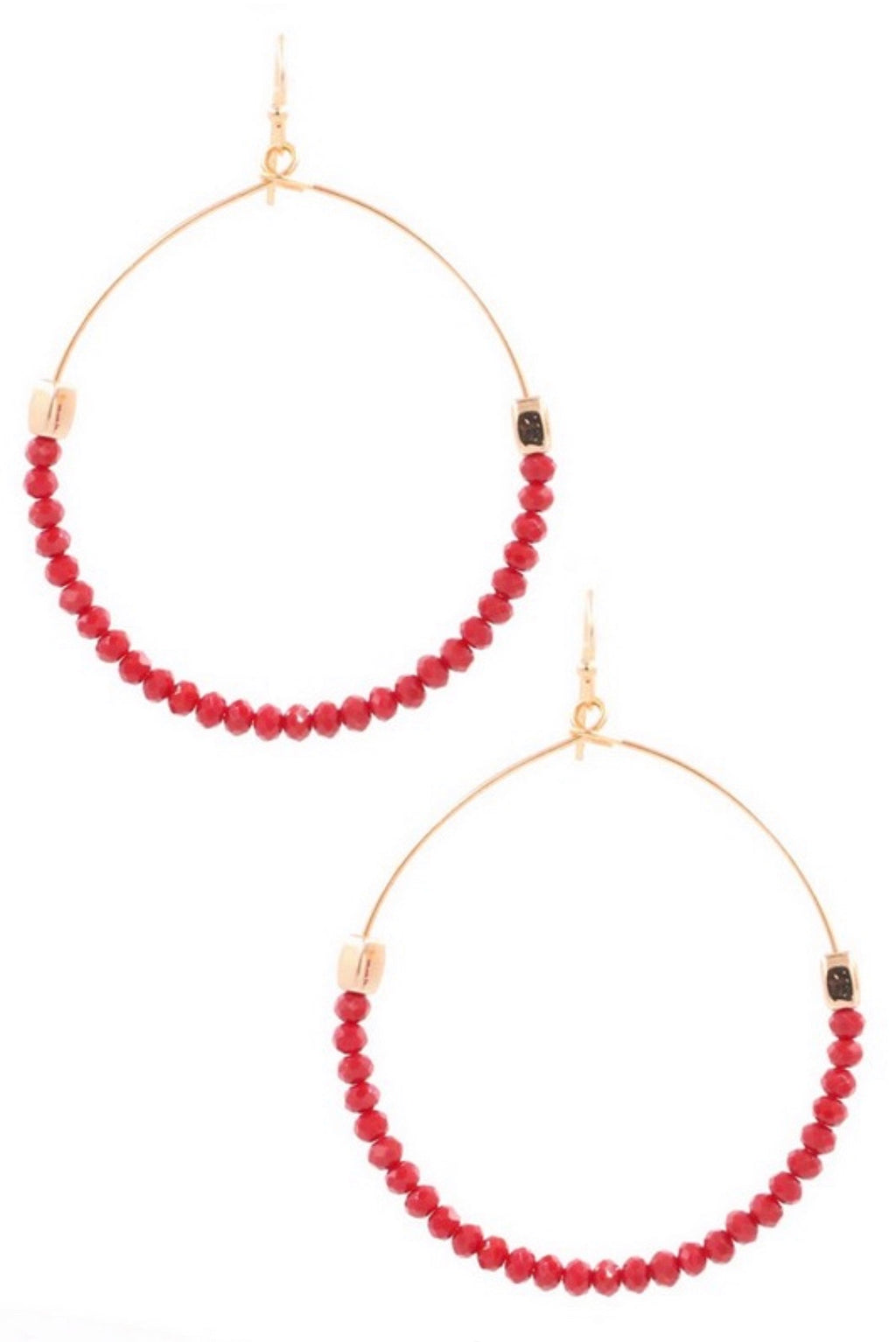Burgundy Stone Beaded Earrings