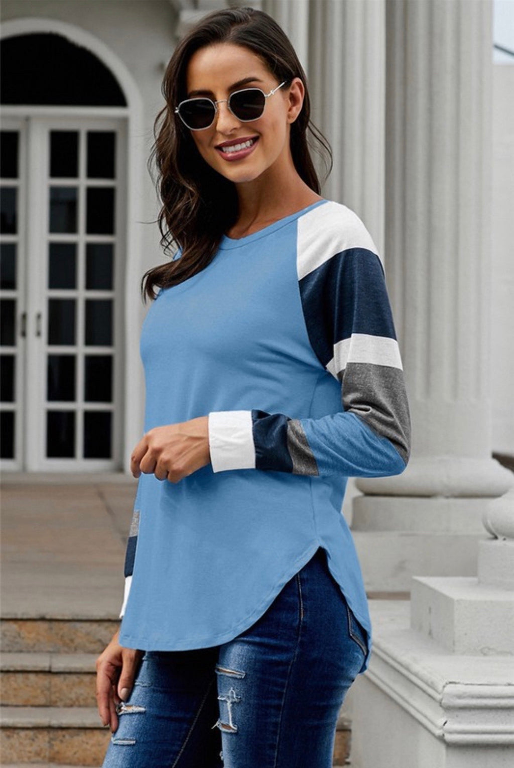 Blue Color Block Sleeve Top