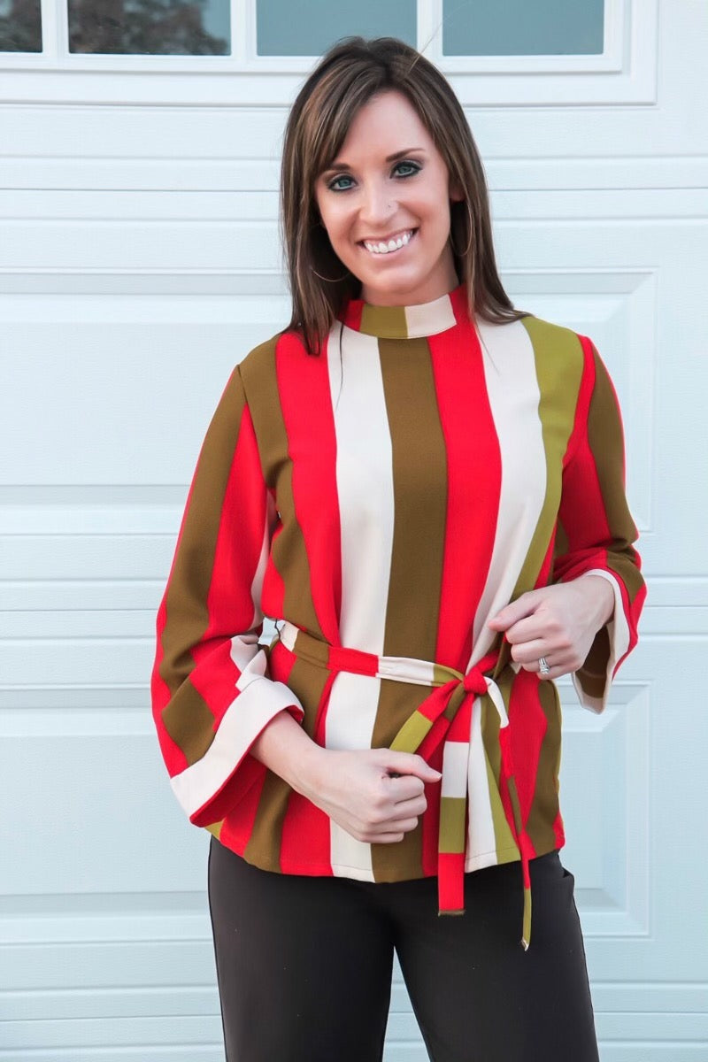 Red/Olive Striped Top