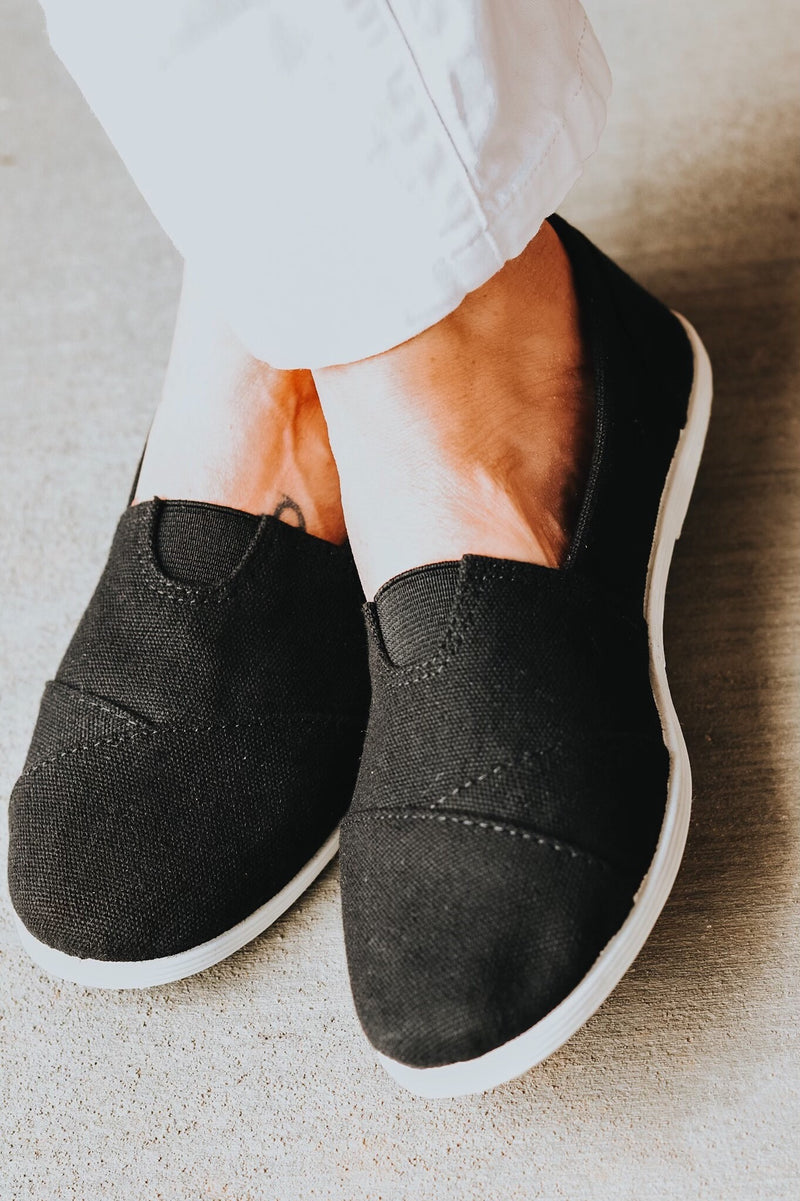 Black Casual Slip-On Shoes
