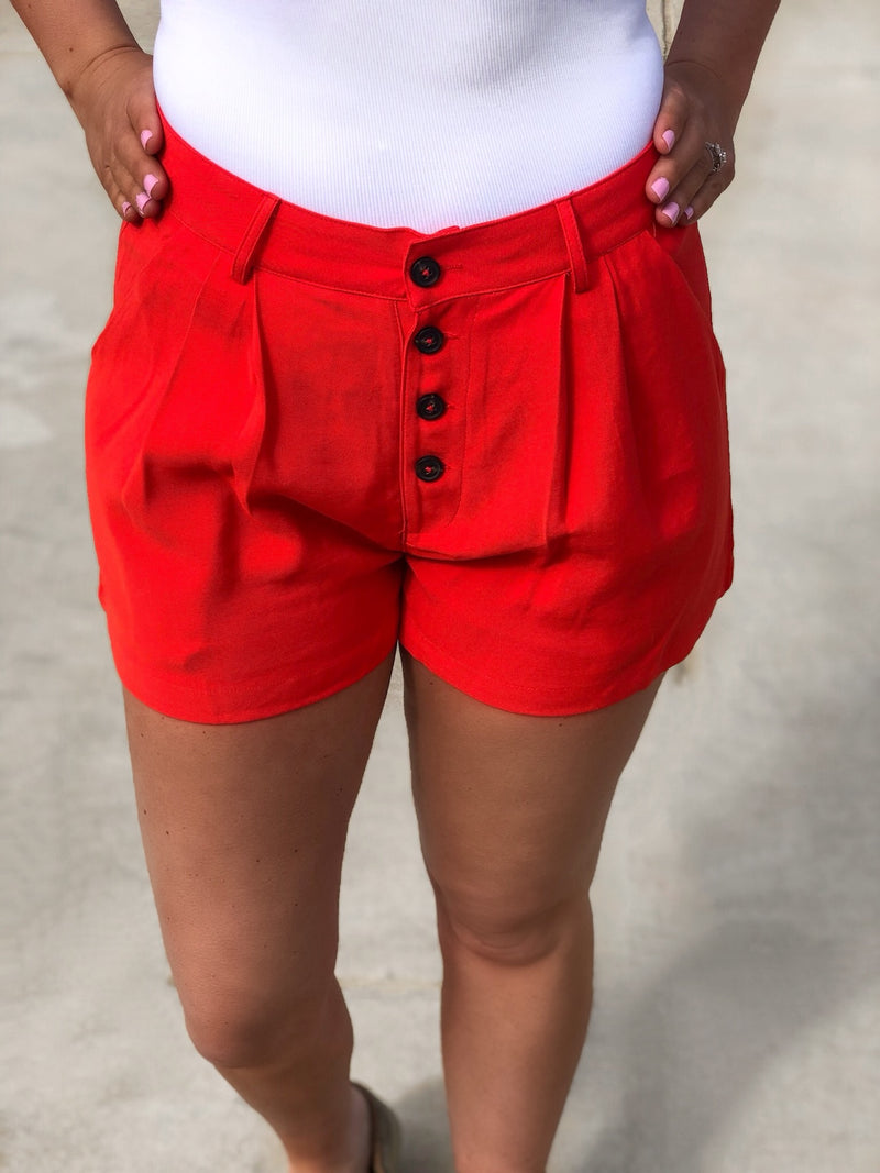 Button Down High Waisted Shorts - EmmyLou Boutique