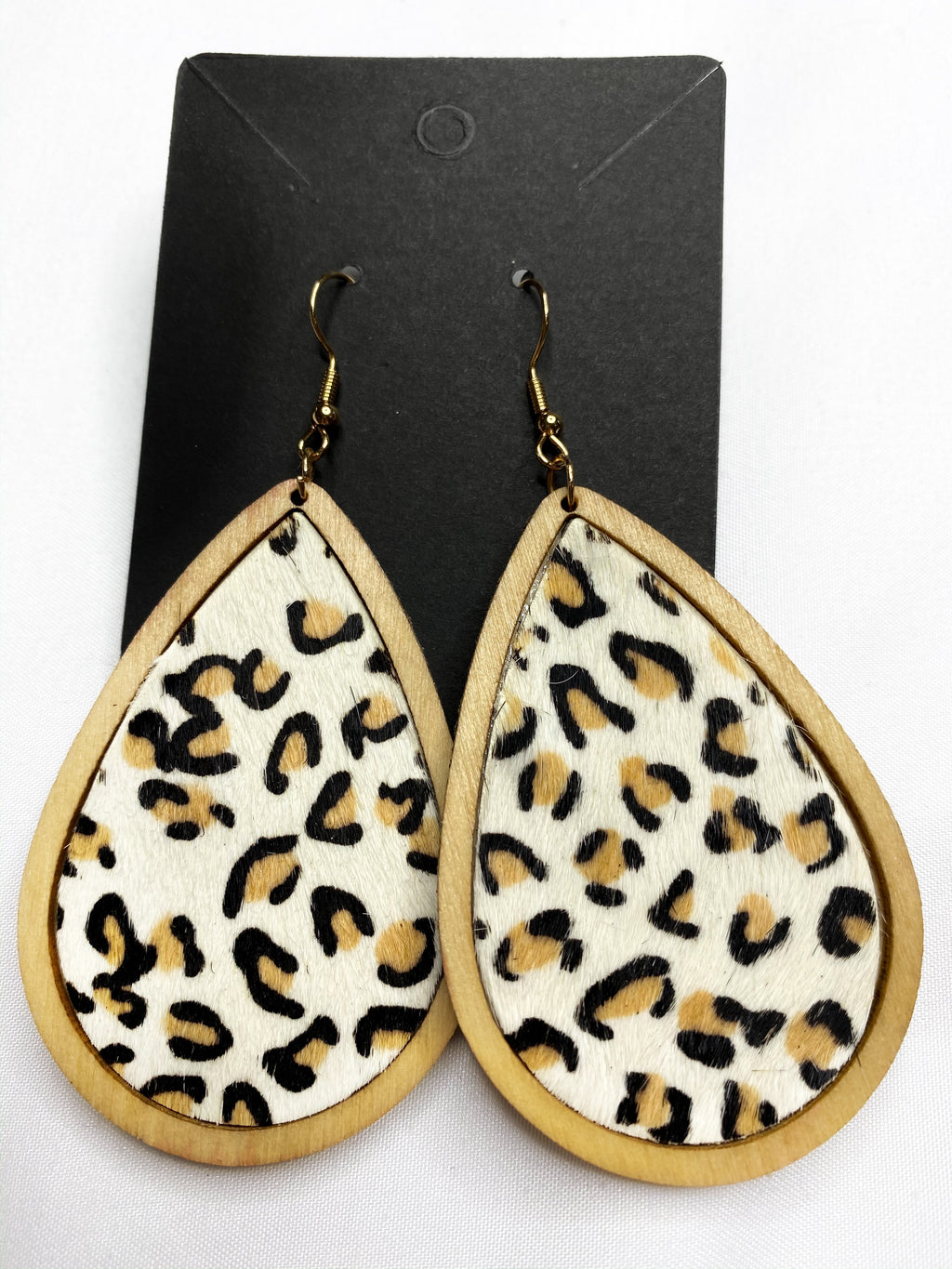 Wooden Cheetah Drop Earrings