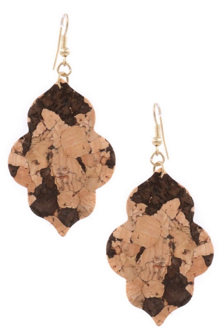 Brown Multi Cork Drop Earrings