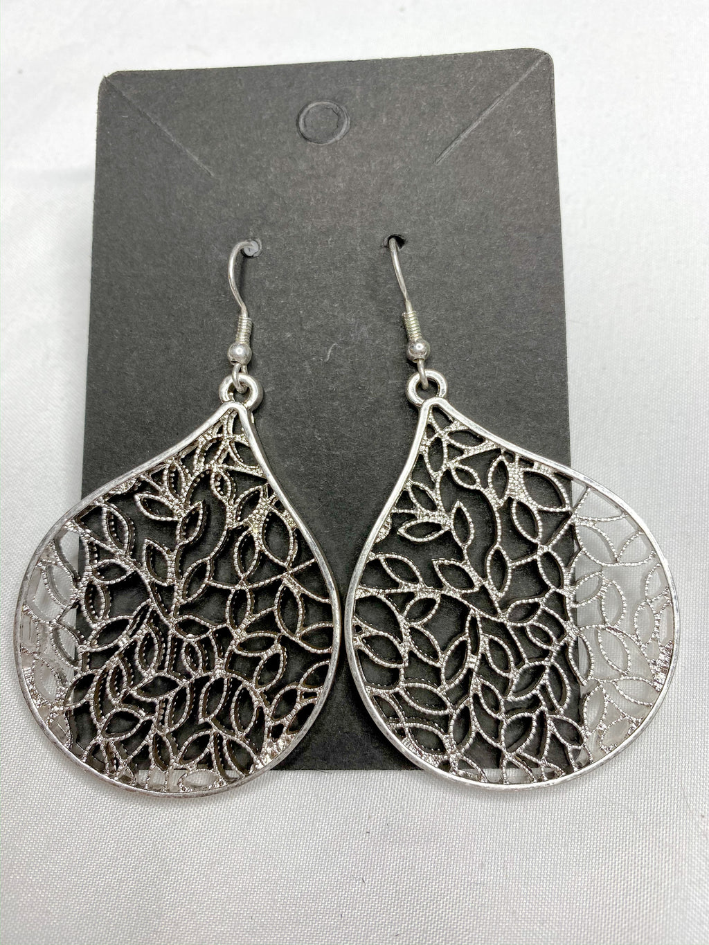 Worn Silver Leaf Earrings