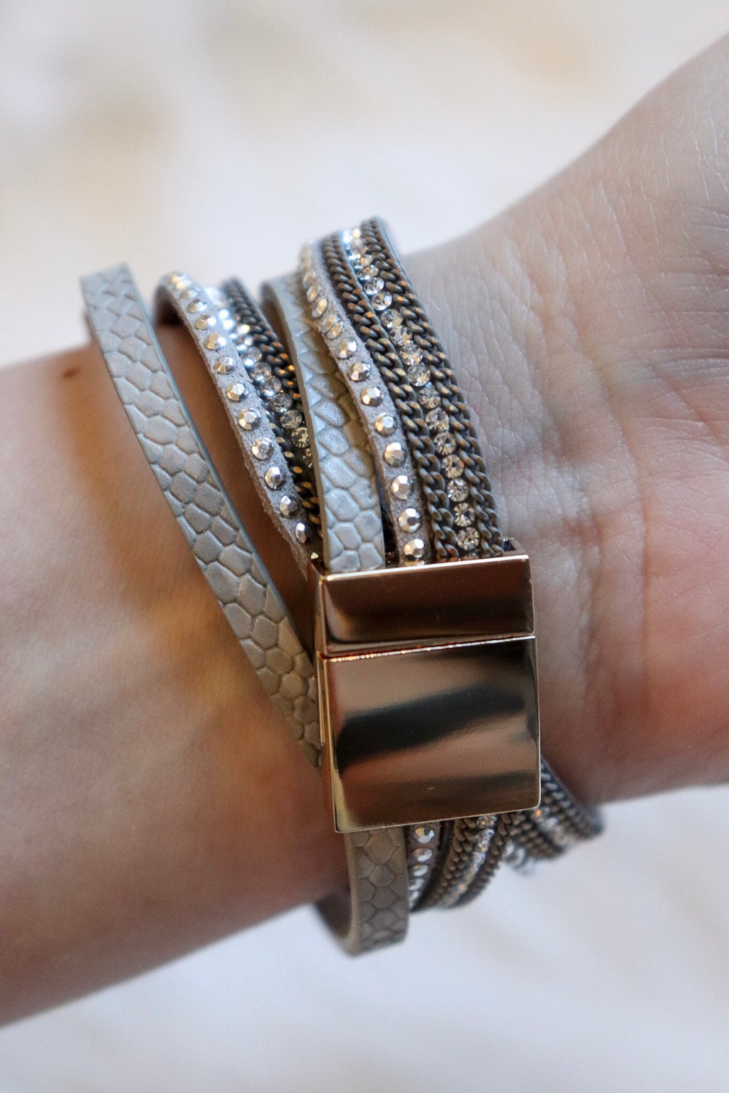 Gold-Gray Leather Bracelet