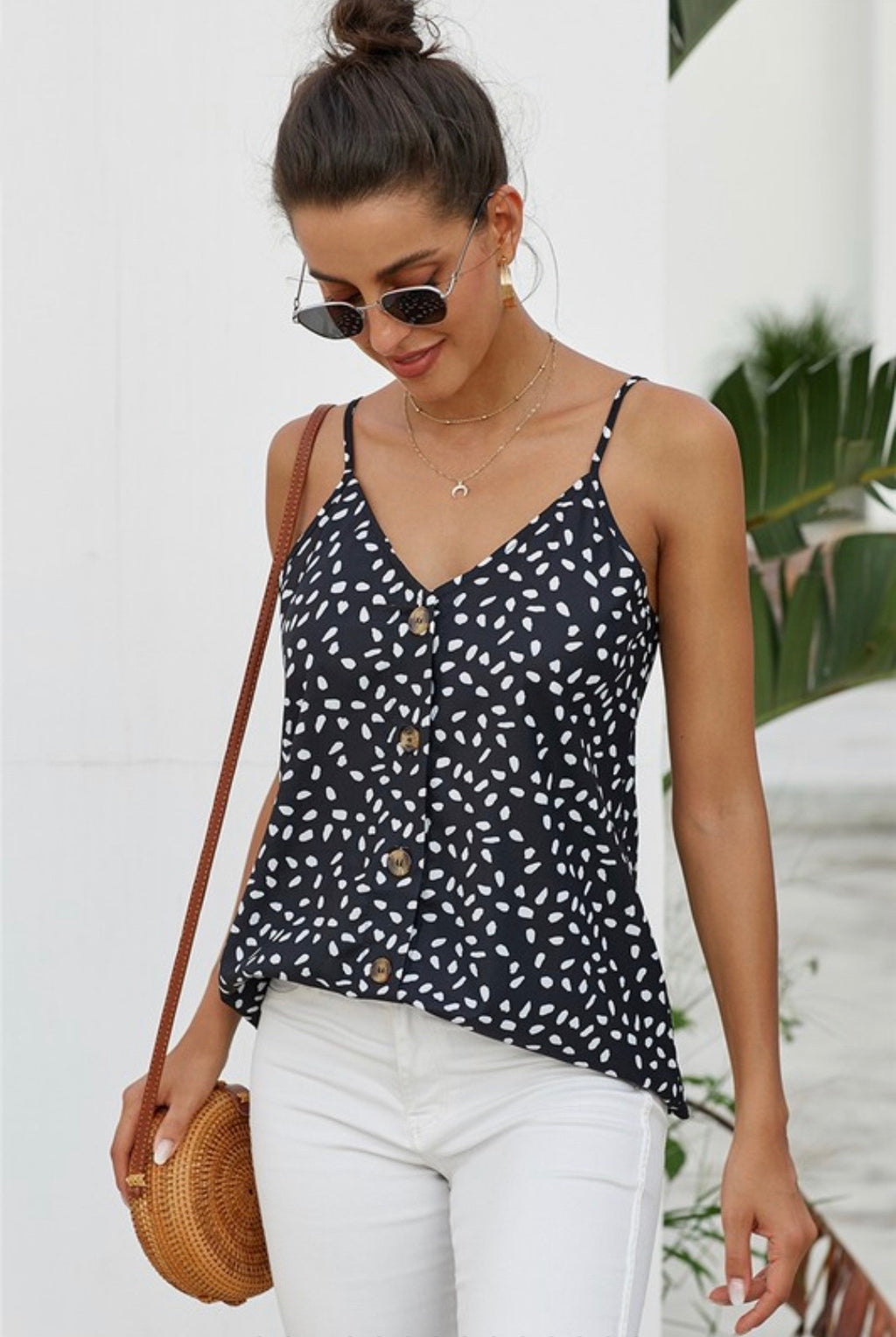 Button Front Spaghetti Strap Tank Top