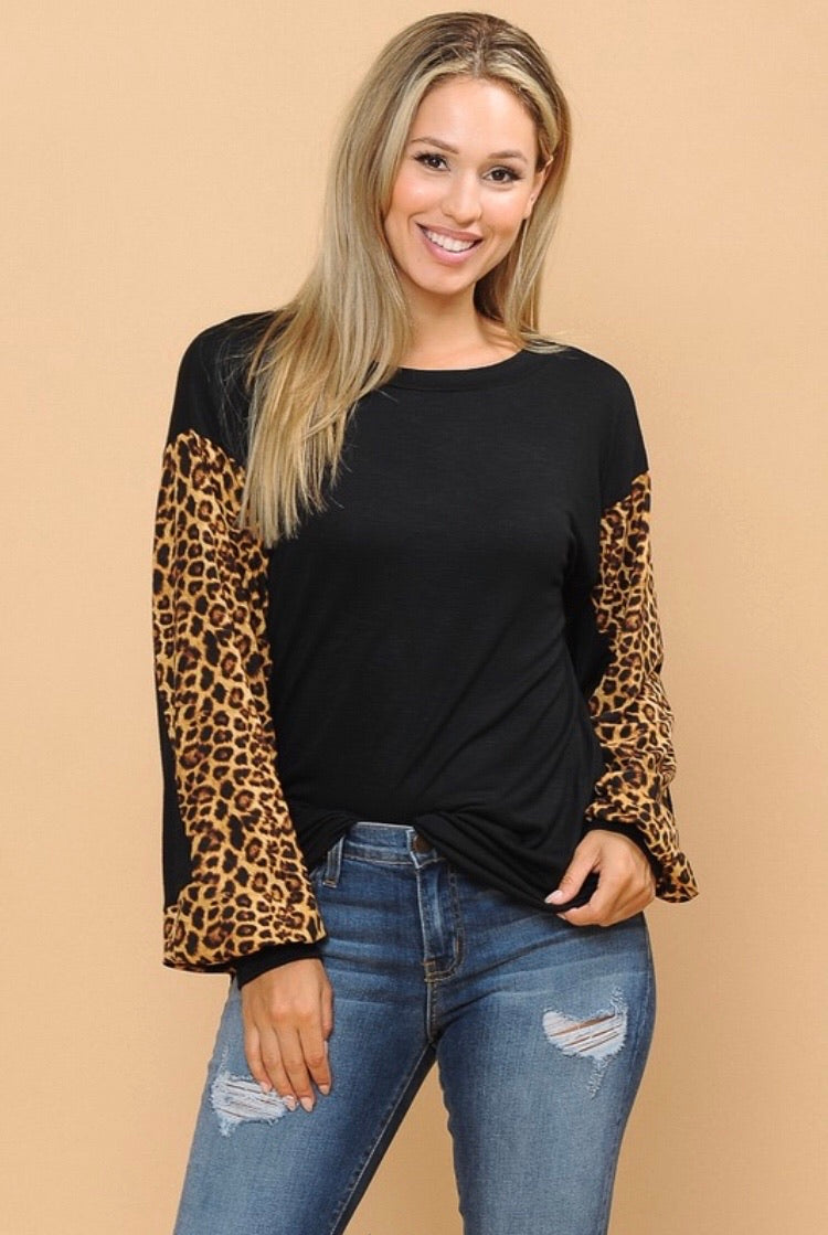 Black Leopard Puff Sleeve Top