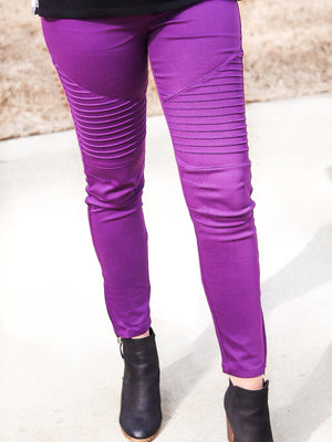 Purple Moto Jeggings