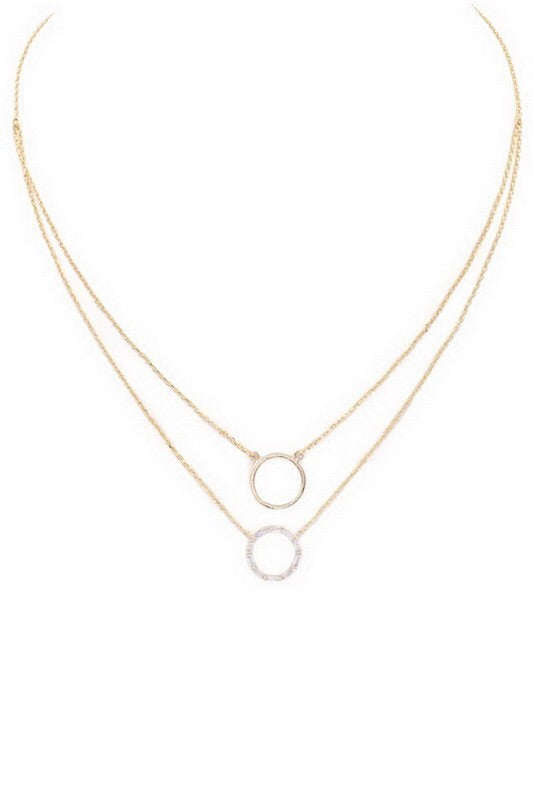 Double layered brass/cubic zirconia ring pendant necklace - EmmyLou Boutique