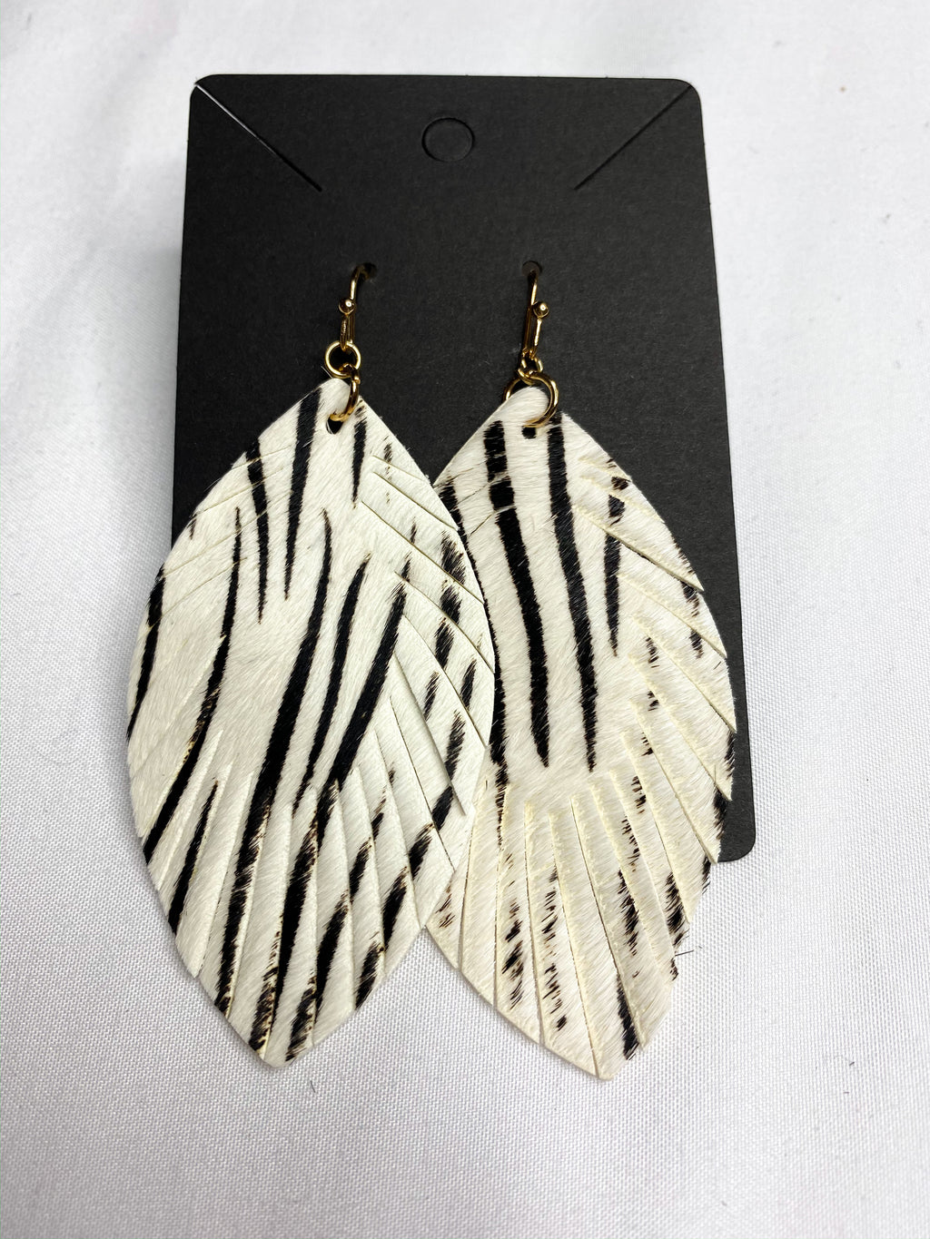 Zebra Faux Leather Earrings