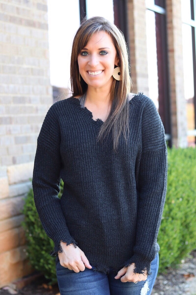Black Frayed Sweater