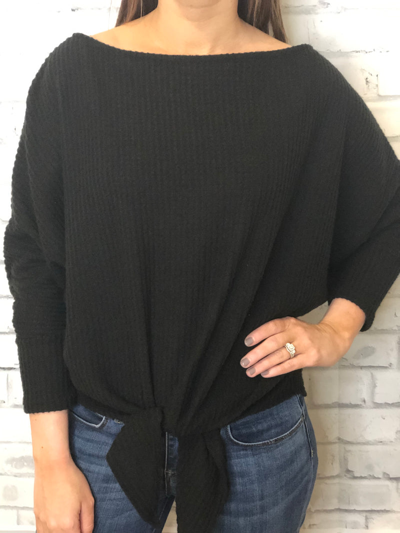 Black Front Tie Knot Sweater - EmmyLou Boutique