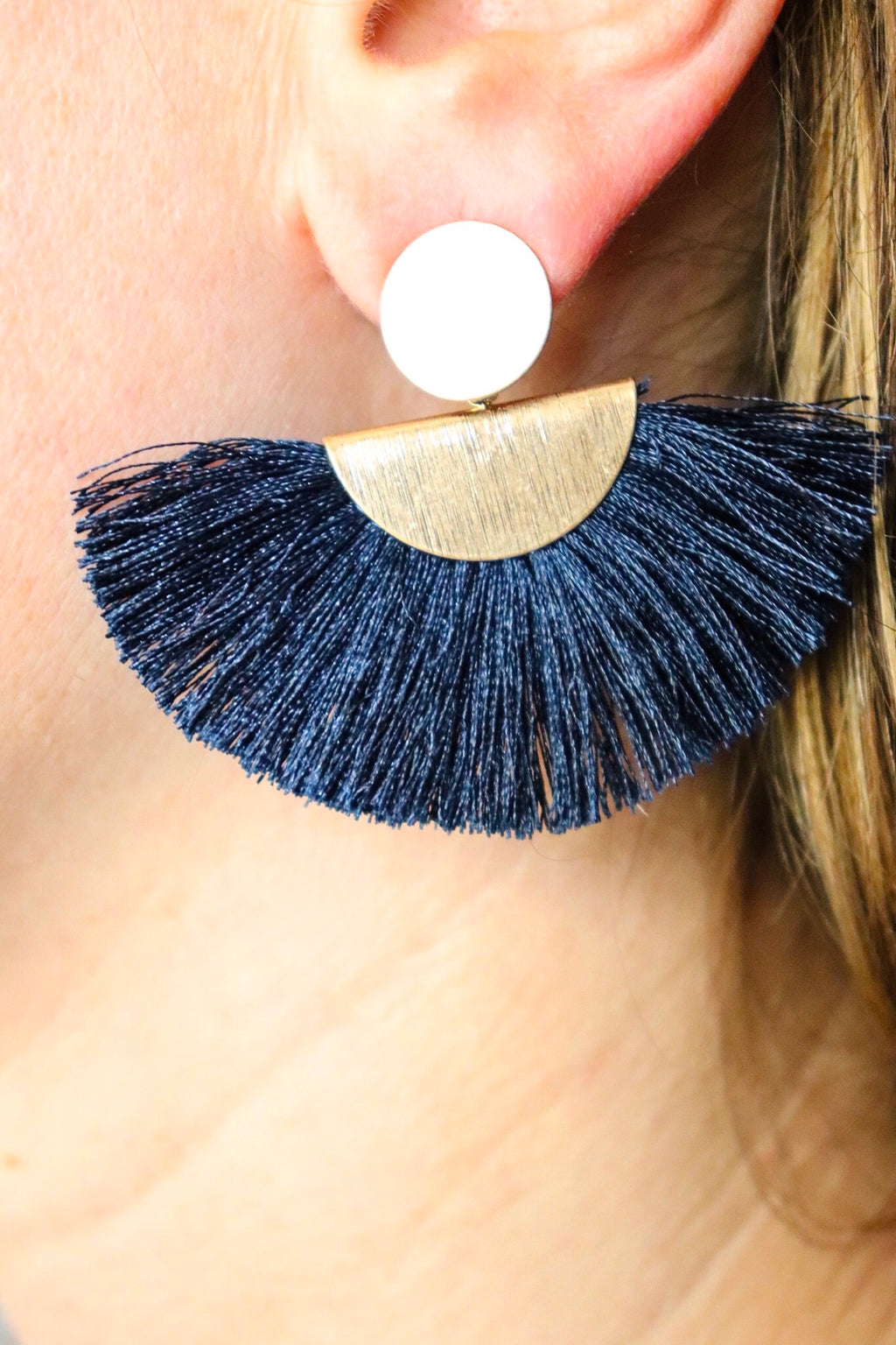 Navy Tassel Fan Drop Earrings