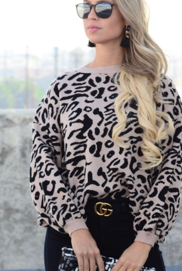 Black Leopard Balloon Sleeve Sweater