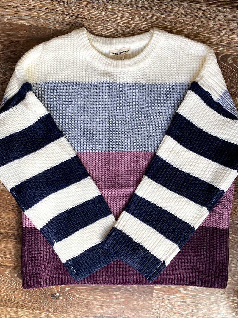 Eggplant Striped Sweater