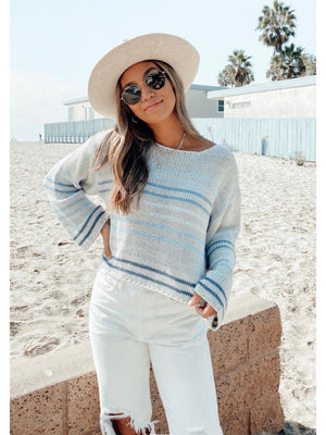Silver/Navy Cropped Sweater