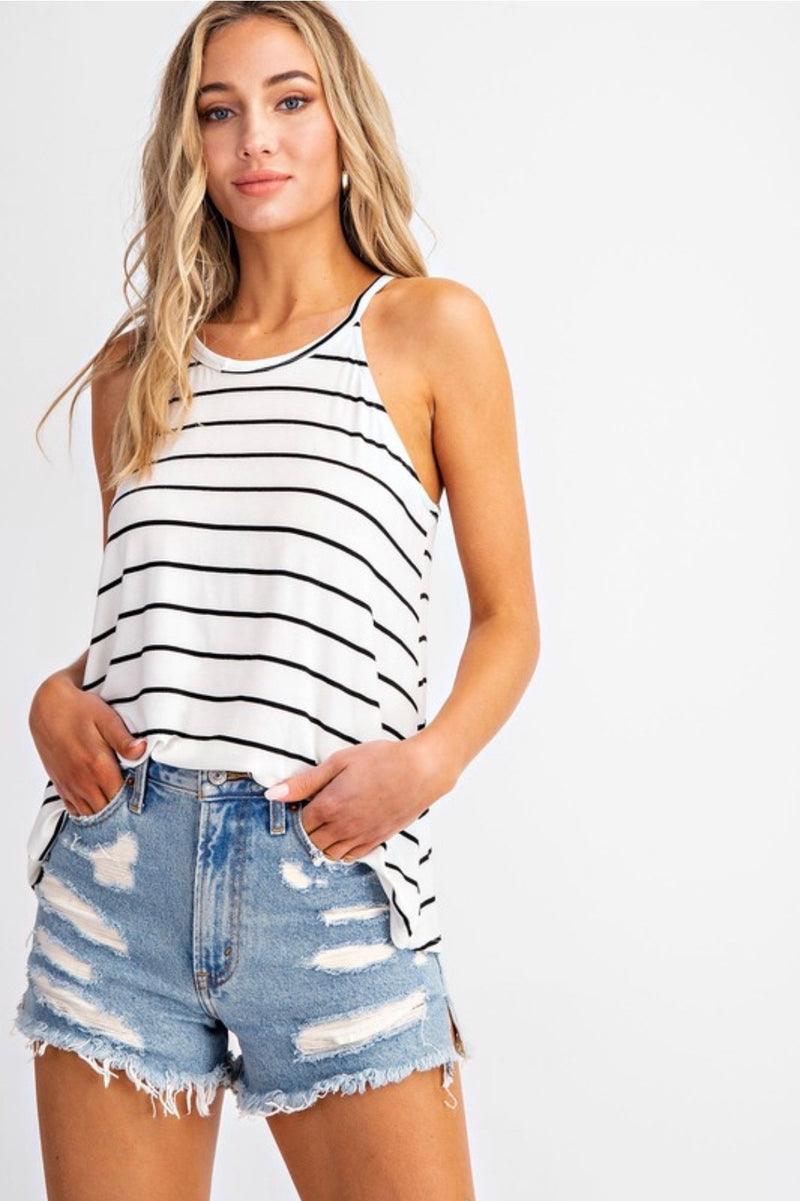 Ivory/Black Sleeveless Top