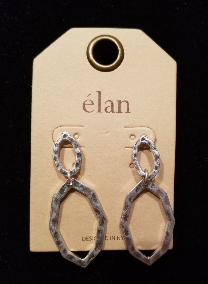 Worn Silver Hammered Metal Cut Out Drop Earrings - EmmyLou Boutique