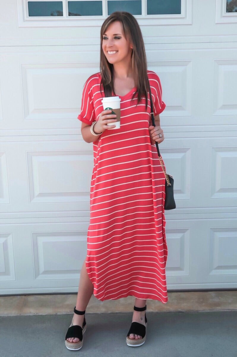 Coral/Ivory Stripe Maxi Dress