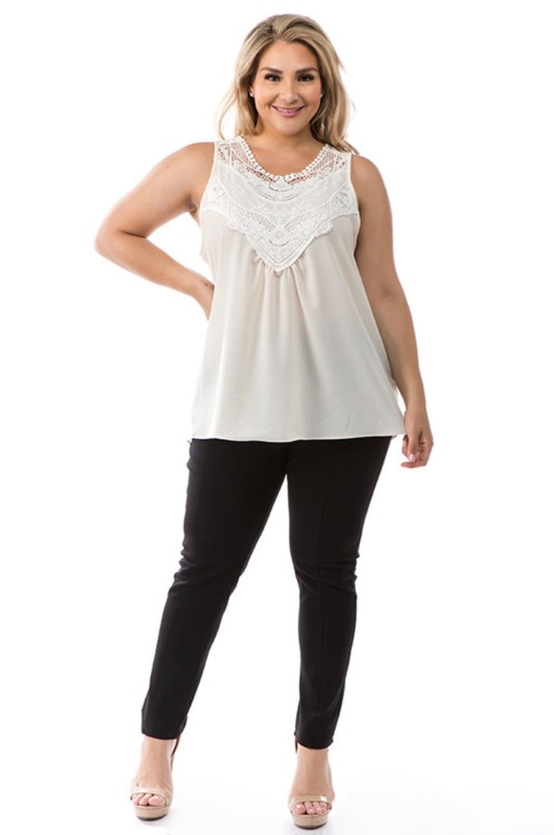 Lace Sleeveless Top (Plus)