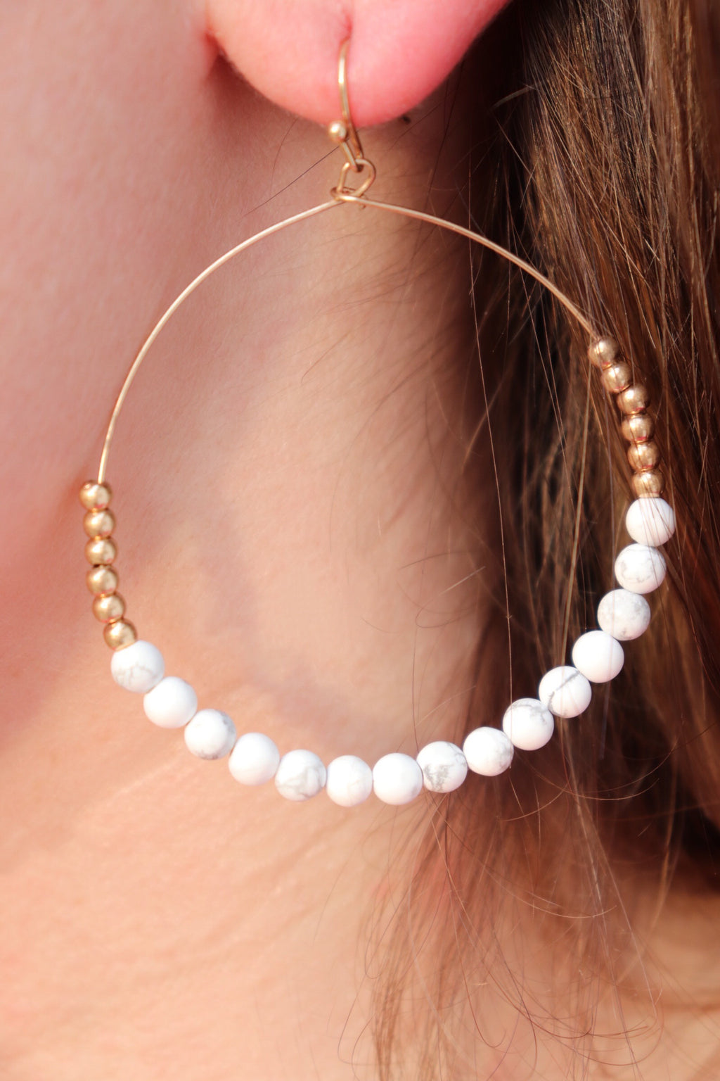 White Howlite Stone Beaded Earrings