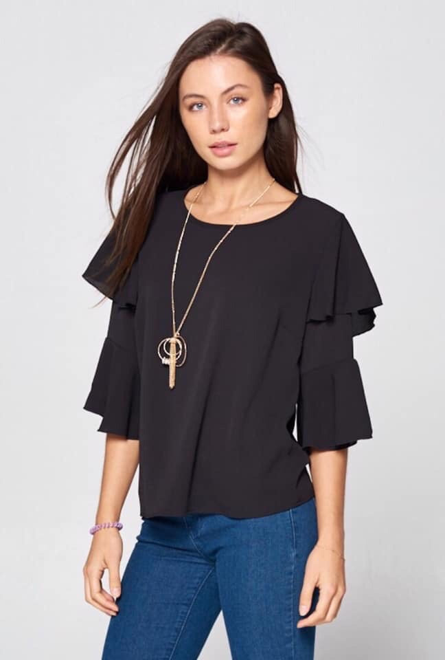 Black Ruffle Sleeve w/ Gold Necklace
