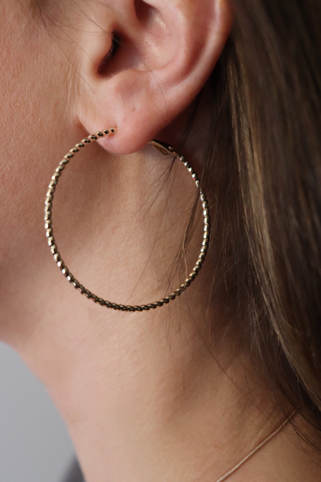 Brass Metal Textured Hoop Earrings