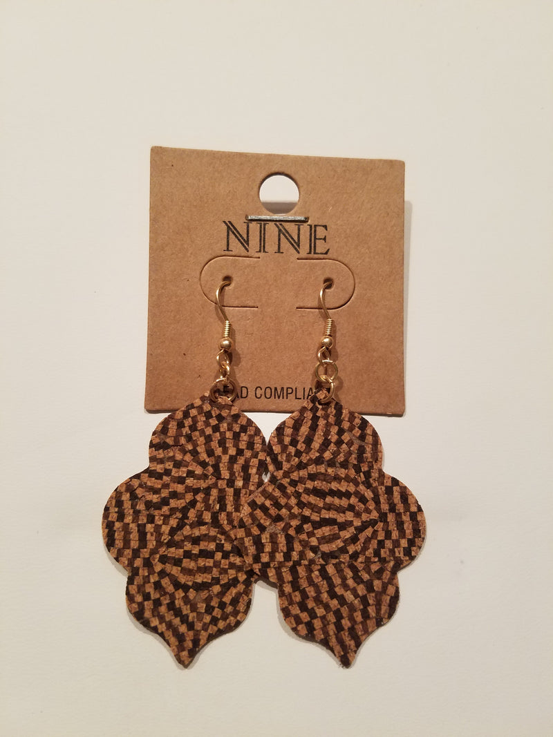 Dark Brown Moroccan Cork Drop Earrings - EmmyLou Boutique