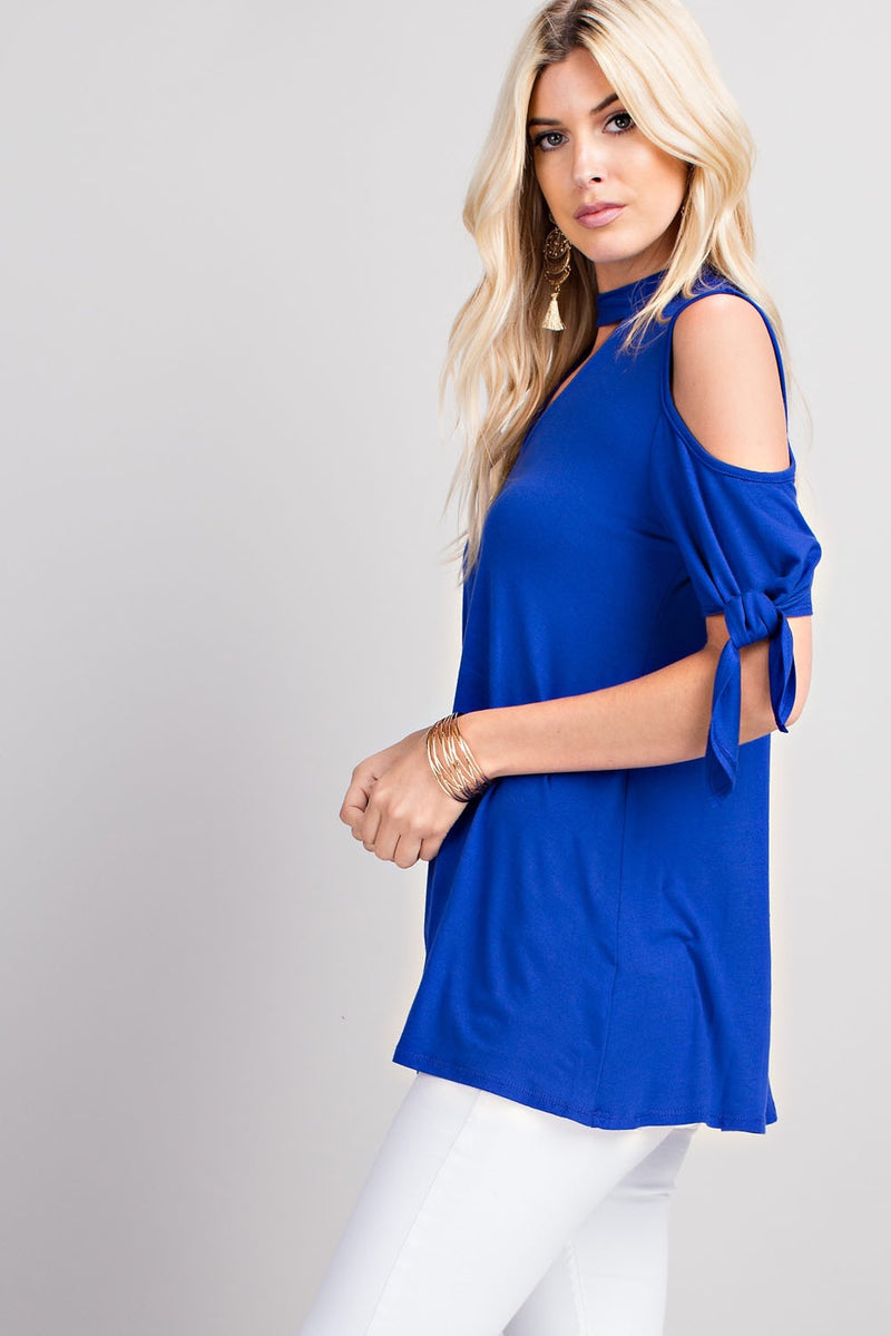Blue Cold Shoulder Top - EmmyLou Boutique