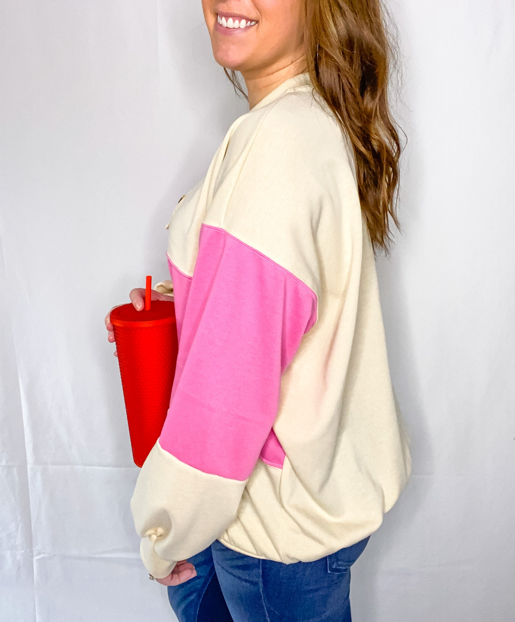 Pink/White Oversized Sweatshirt