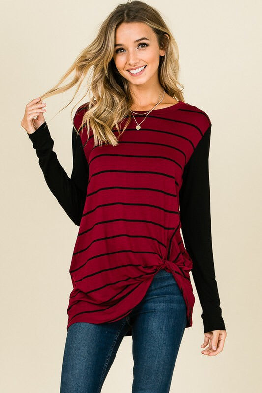 Wine Striped Front Knot Tunic Top - EmmyLou Boutique