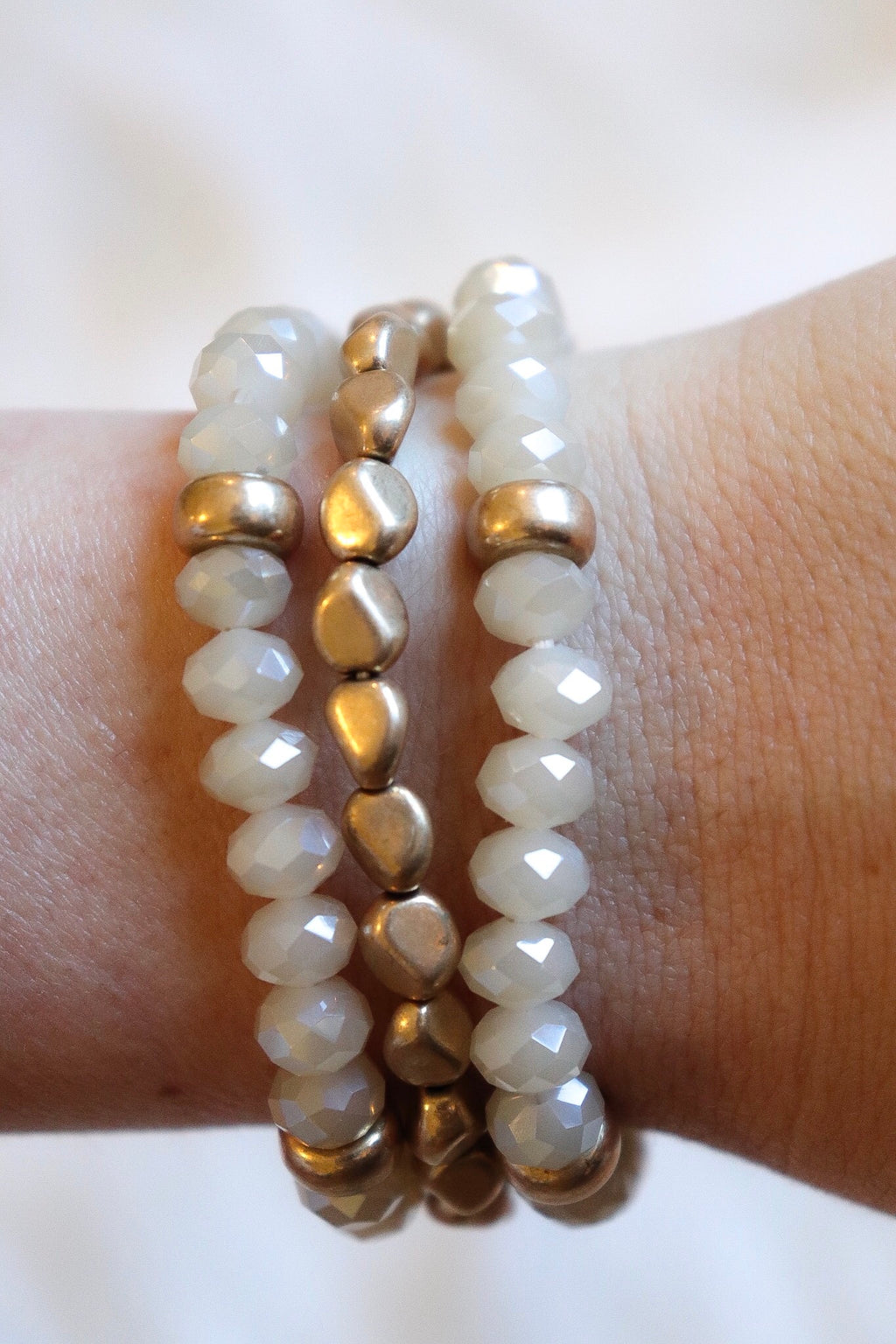 Natural Metal Stone Bead Stretch Bracelet