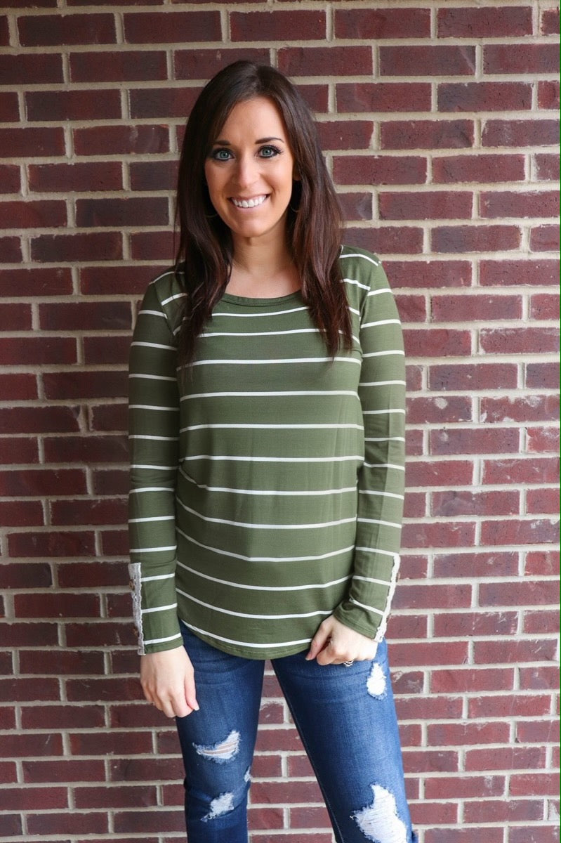 Olive Striped Top w/ Crochet Back