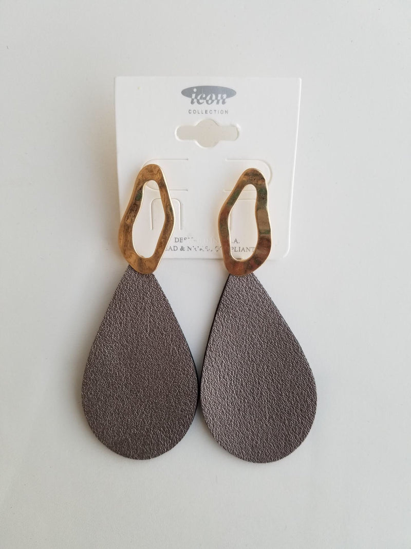 Hematite Faux Leather Hammered Metal Teardrop Earrings - EmmyLou Boutique