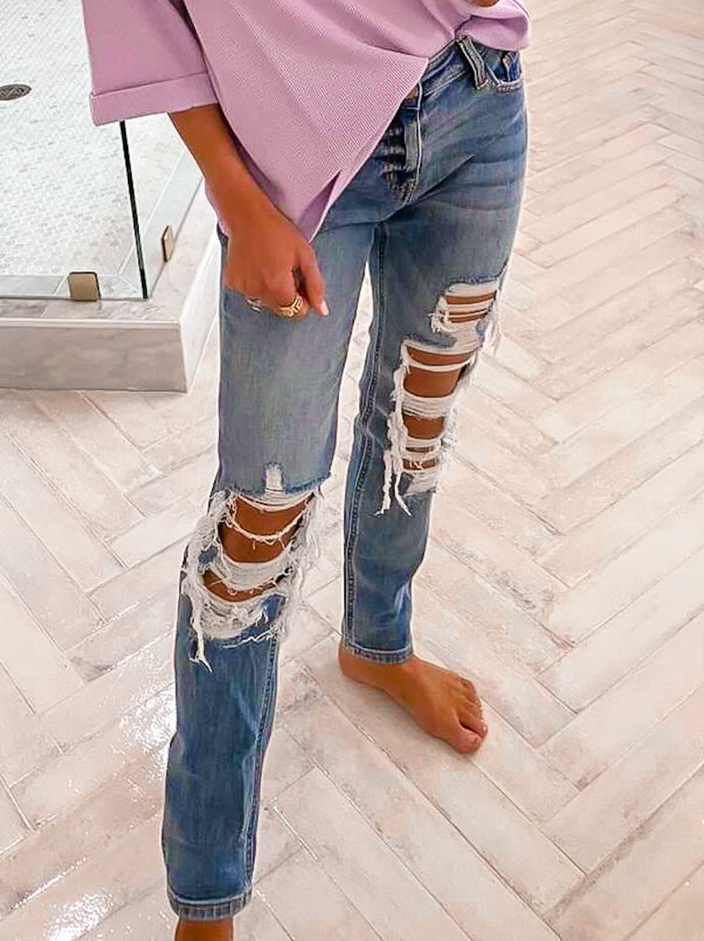 Frankie Distressed Denim Jeans
