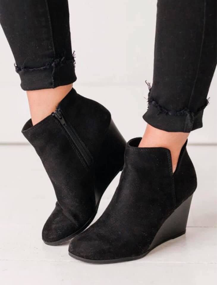 Black Bootie Wedges