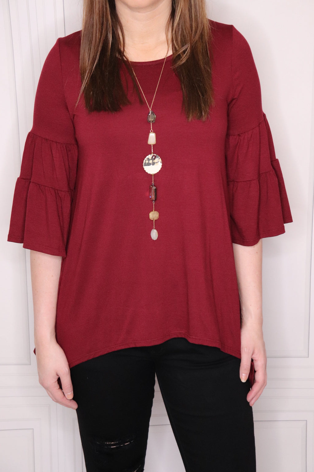 Short Ruffle Bell Sleeve Top - EmmyLou Boutique
