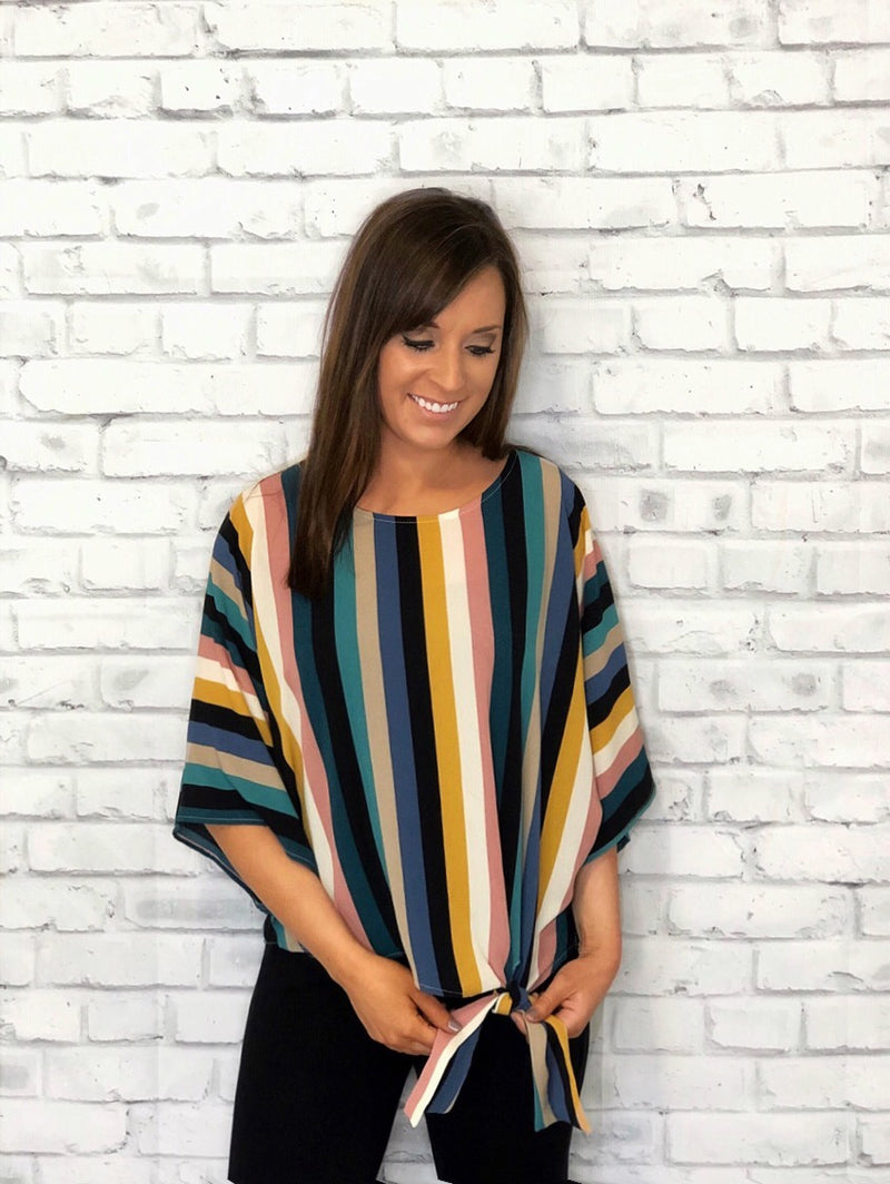Multi Stripe Front Tie Top - EmmyLou Boutique