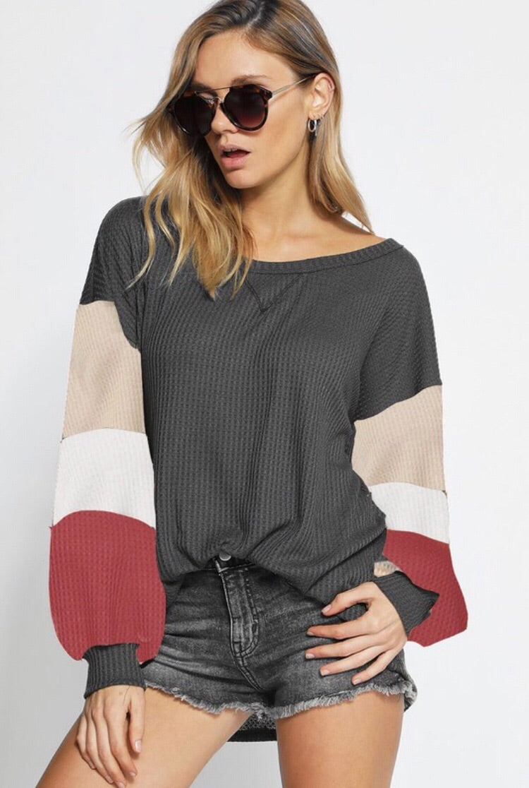 Charcoal Thermal Waffle Knit Top