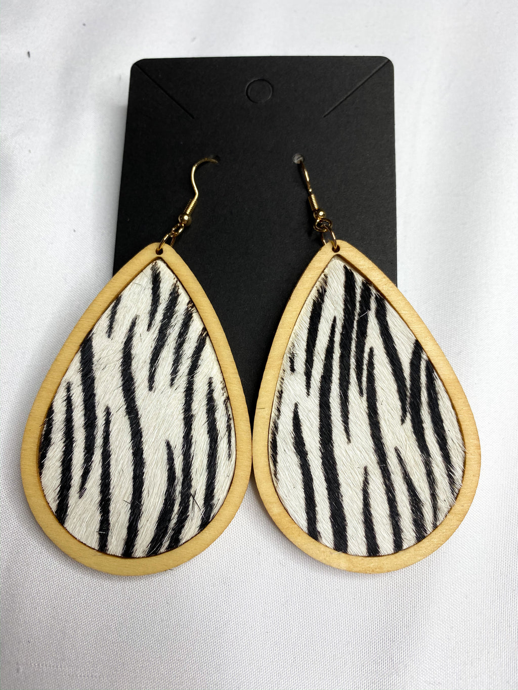 Wooden Zebra Drop Earrings