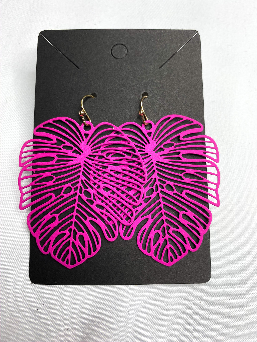 Fuchsia Leaf Drop Earrings