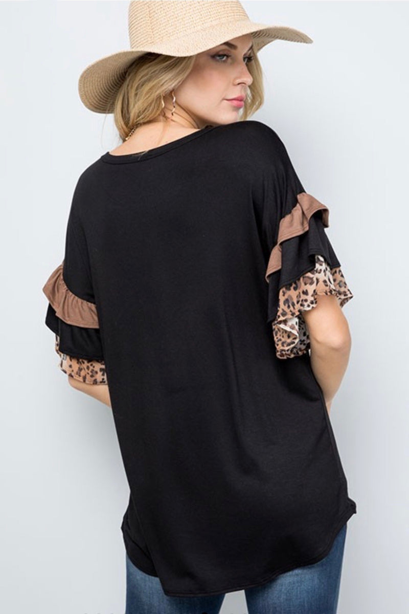 Short Ruffle Sleeve Leopard Top