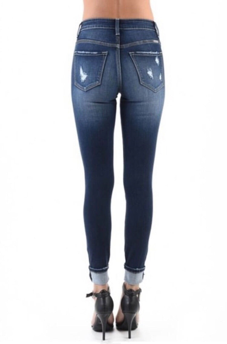 Distressed KanCan High Rise Skinny Ankle Jeans