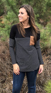 Black Striped Sleeve Pocket Top - EmmyLou Boutique