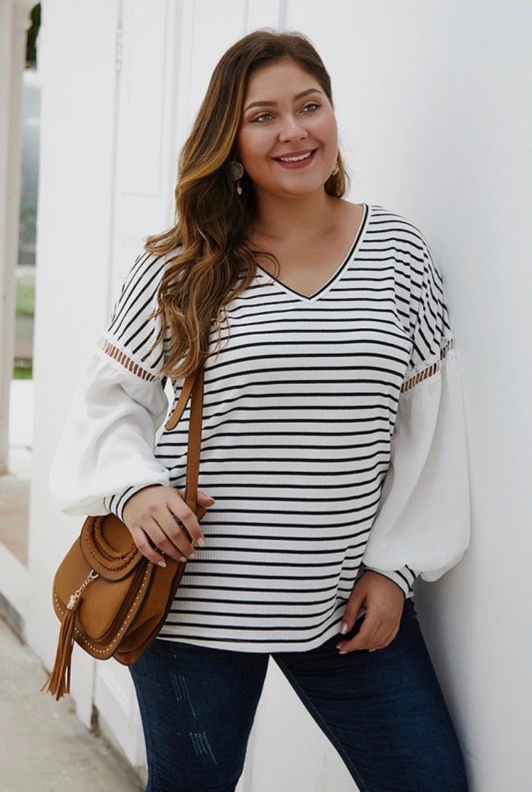 White V Neck Striped Top (Plus)
